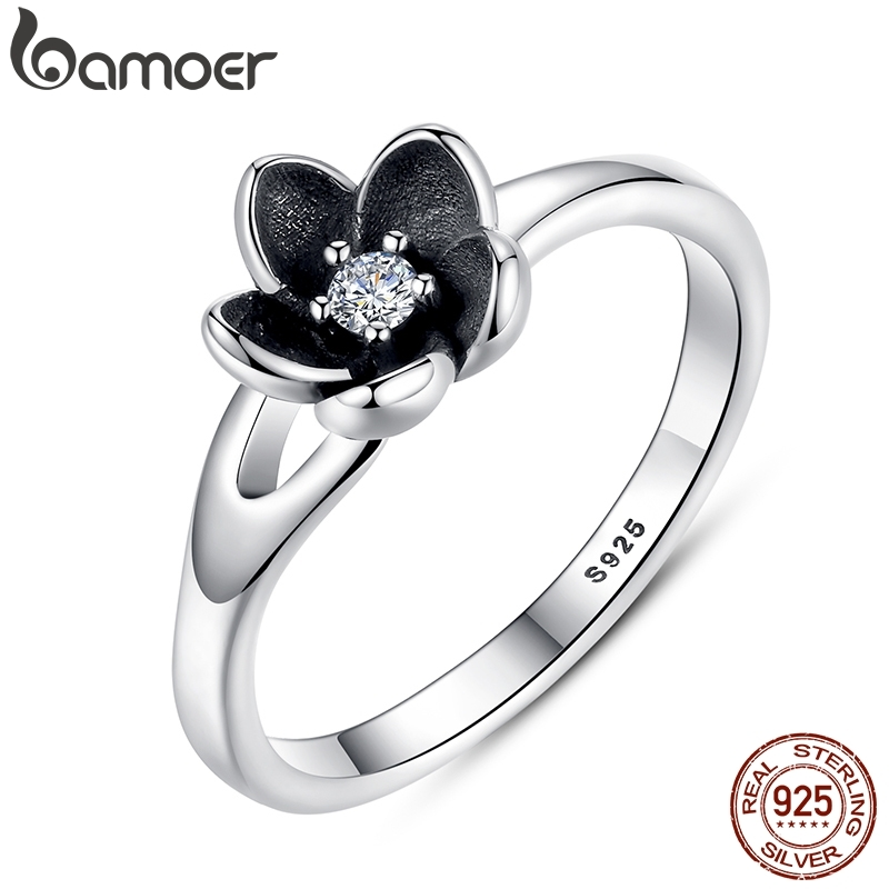 BAMOER 2016 New Collection Authentic Mystic Floral Stackable Ring, CZ & Black Enamel 100% 925 Sterling Silver Jewelry PA7154 mariposa en plata anillo