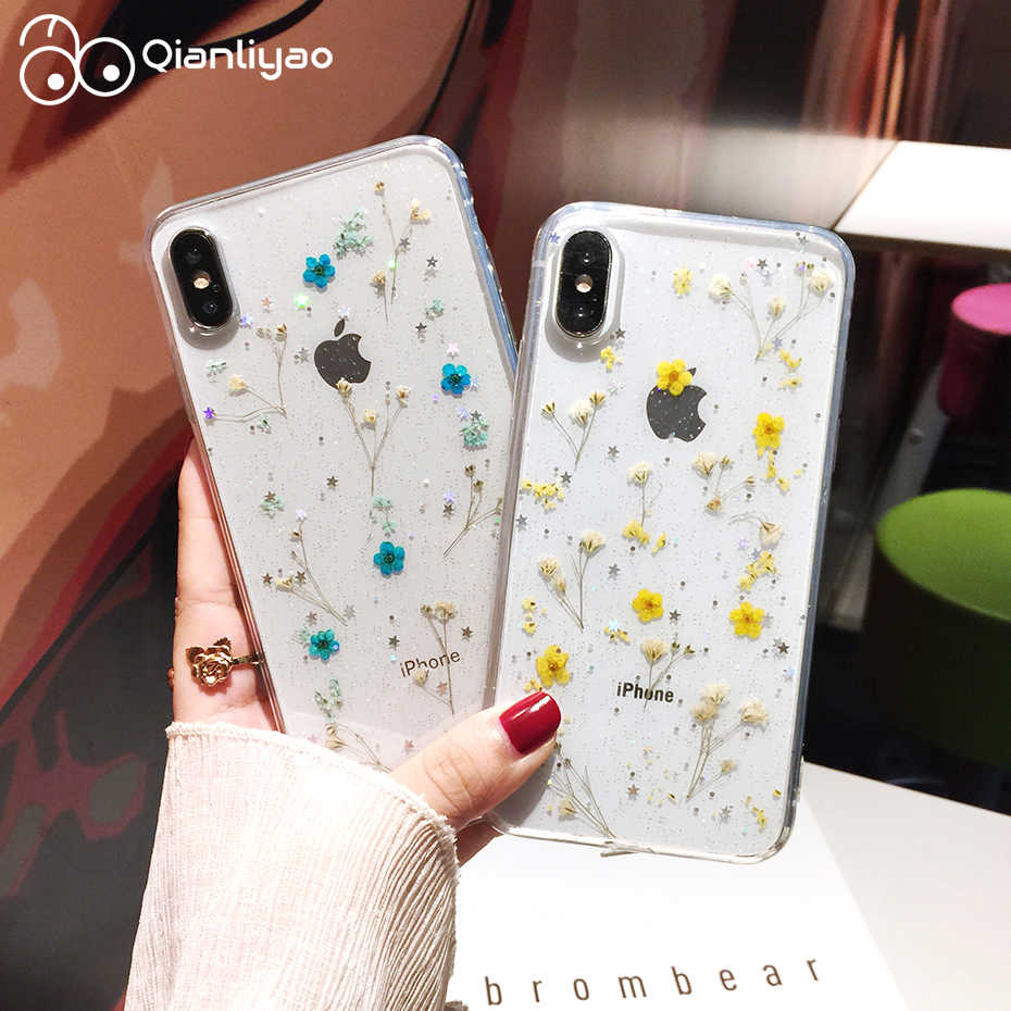 Qianliyao Real Dried Flowers Transparent Soft Cover For iPhone X 6 6S 7 8 Plus 11 Pro Max Phone Case For iphone XR XS Max Cover