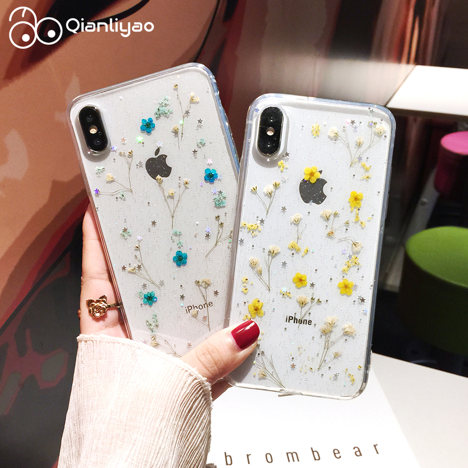 Qianliyao Real Dried Flowers Transparent Soft Cover For iPhone X 6 6S 7 8 Plus 11