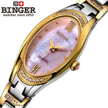 2016 new Switzerland Women quartz watches rhinestone shell luxury Binger watch Girl casual fashion woman Gold Wristwatch