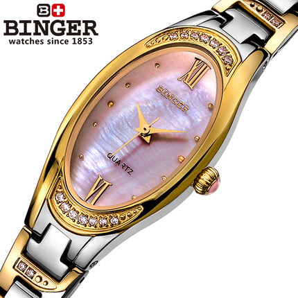 ФОТО 2017 new Switzerland Women quartz watches rhinestone shell luxury Binger watch Girl casual fashion woman Gold Wristwatch