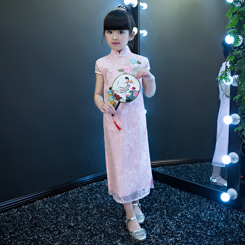 2017 autumn children cheongsam girl dress up princess dress national wind cotton girl dress tang suit national wind embroidery lace up neck dress