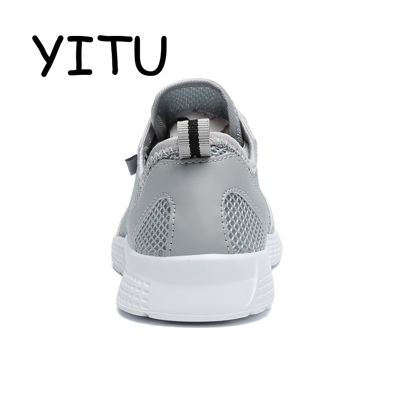 YITU 2018 Women Men Black Blue Mesh Running Shoes Sport Outdoor Sneakers Breathable Light Weight Jogging Walking Shoes Beach Hot