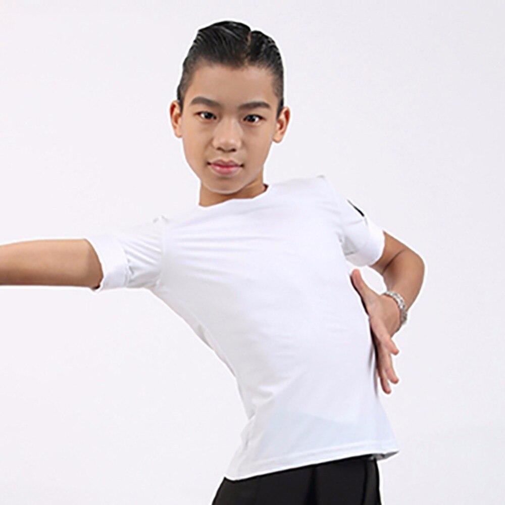 Comfortable Latin Dance Shirt For Children Black White Nylon Novel Tops Boy Males Kids Summer Ballroom Dance Shirt Clothes 10392