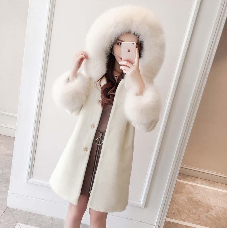 Grand 2018 Cachemire D'hiver Taille Xxl Femme 2xl Vestes La rose Laine Blanc Avec Blanc Capuche Plus Renard Formelle Chaud Un Pardessus Femmes Fourrure Rose De nmwN8v0