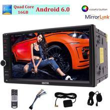 """7 """"Doble 2 din Car Radio Android6.0 Gps Bluetooth de la ayuda 1080 P Vídeo de Volante de la Ayuda/Espejo enlace/OBD2/WIFI"""