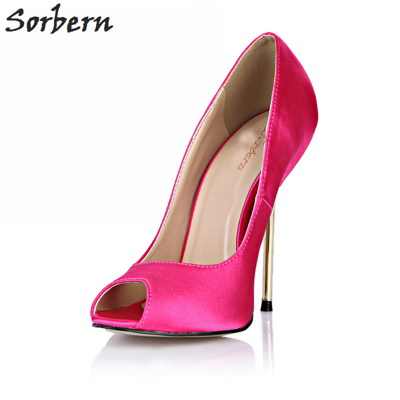 Sorbern Ladies Shoes Stiletto High Heels Zapatos Mujer Gold Heels Runway Shoes Women Pumps Peep Toe Women Shoes For Evening 2018 2016 new pink pearl sexy party shoes women round toe stiletto high heels back strap dating ladies pumps zapatos mujer 3463b c2