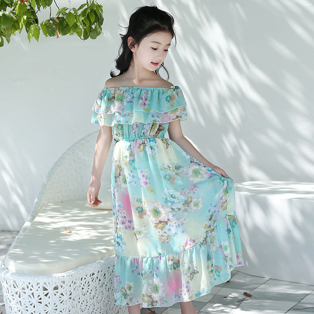Kids Girls Summer New Long Dress Trend Flower Chiffon Bohemian Dress Fresh Korean Version Princess Sexy Word Collar Beach Dress