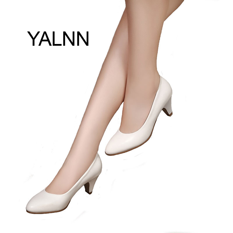 YALNN Women's Leather Med Heels New High Quality Shoes Classic Black&White Pumps Shoes For Office Ladies Shoes