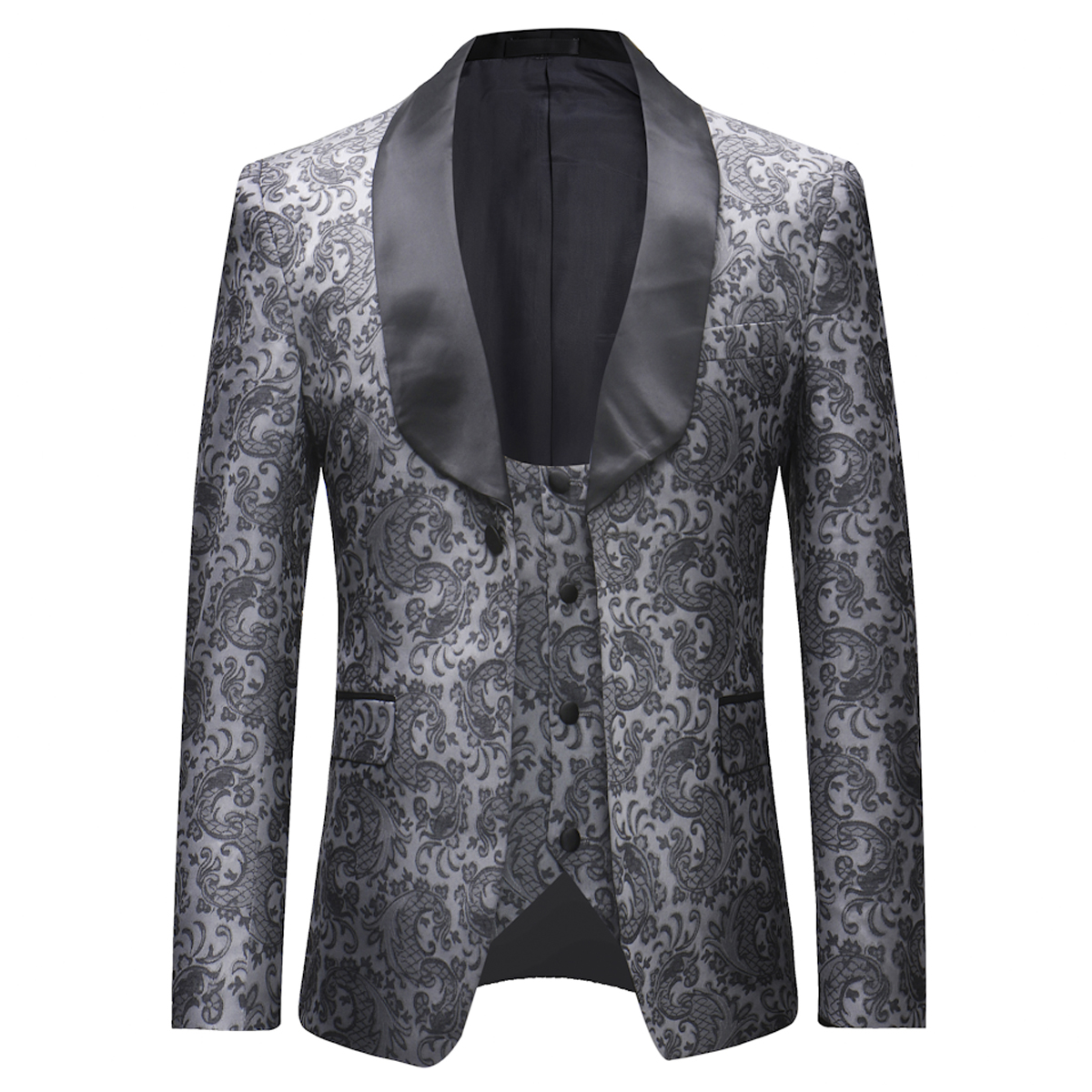 YUNCLOS Newest Mens 3 Piece Tuxedos Vintage Groomsmen Wedding Suit Complete Outfits(Jackets+Vest+Trousers) 1