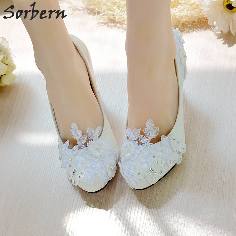 Sorbern Butterfly Beaded Women Shoes White Lace Wedding Shoes 4.5Cm 8Cm  High Heels Shoes Sweet Pumps Princess Party Heels-in Women s Pumps from  Shoes on ... 68d21a034355
