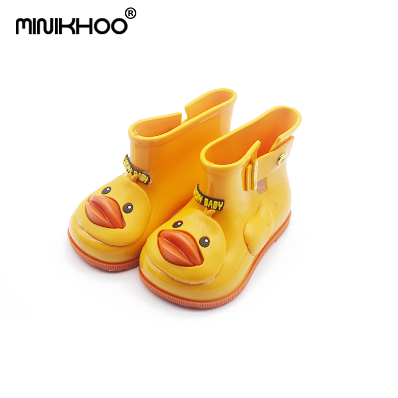 Mini Melissa Brand Cute Duck Girl Rainboots Jelly Sandals Children Boots Baby Water Shoes Non-slip Girl Boots 11.8cm-18cm 3Color