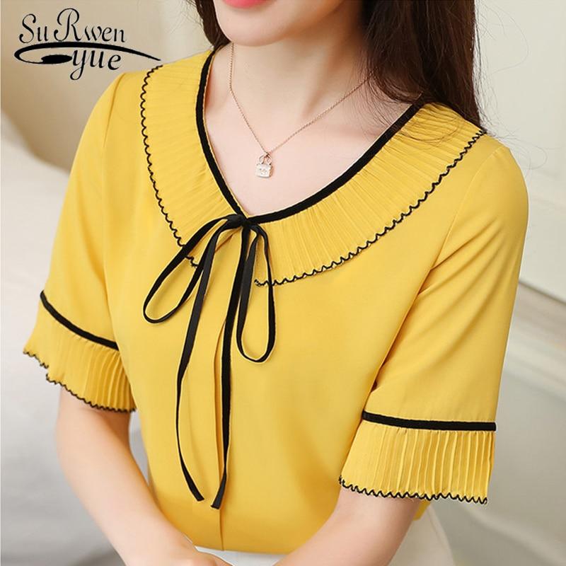 fashion Chiffon Women   Blouse     shirt   Short Sleeve Summer Ladies Tops blusa Plus Size   shirt   chiffon   blouse   feminine   blouses   D620 30