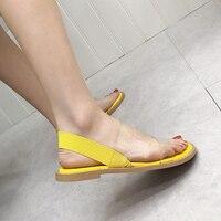 Sandales Femme 2019 Women Flat Sandals Fashion PVC Transparent Flats Shoes Women Yellow Comfort Shoes Summer Flat Shoes
