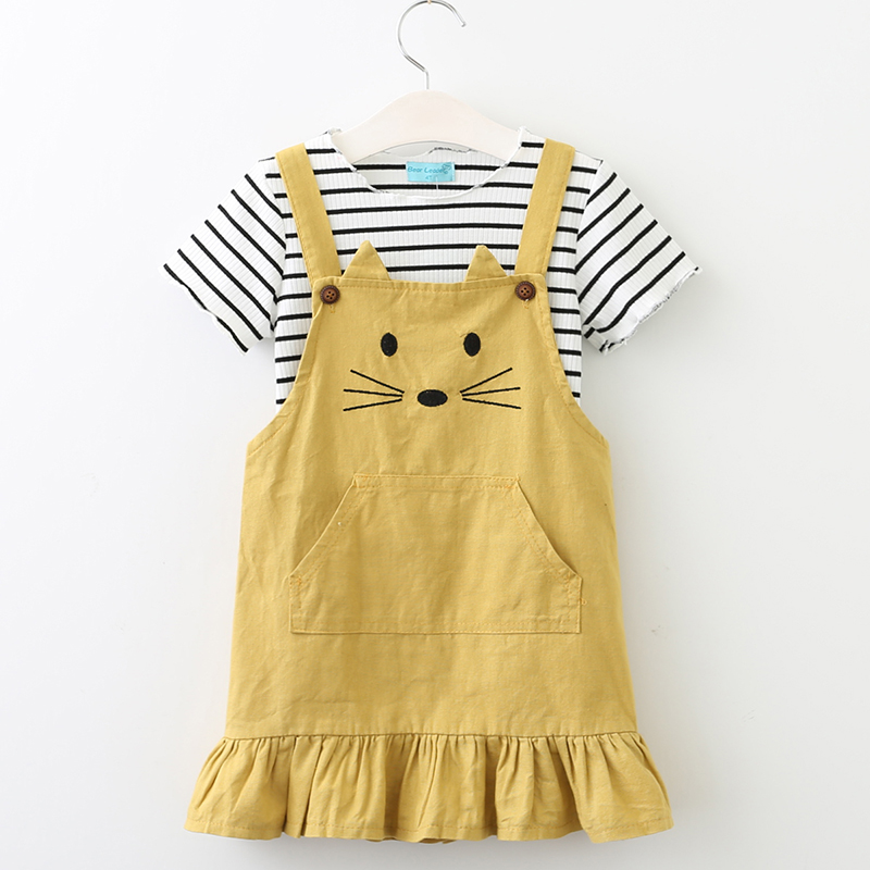 Conjuntos de ropa para niñas 2018 New Lovely Kitten Ropa para niños Conjuntos Ropa para niños Pullover Raya Camiseta Estilo lindo para 3-7