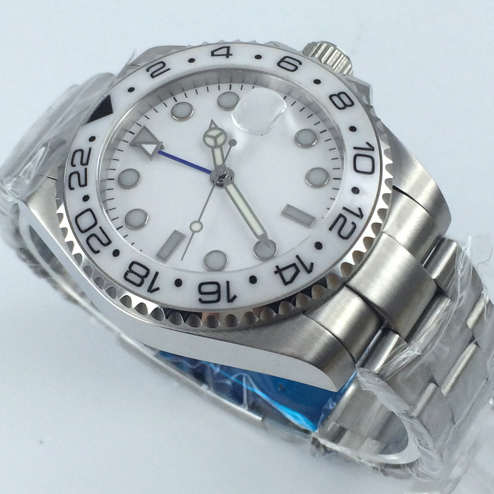 43mm white dial GMT Ceramic Bezel sapphire glass automatic mens watch