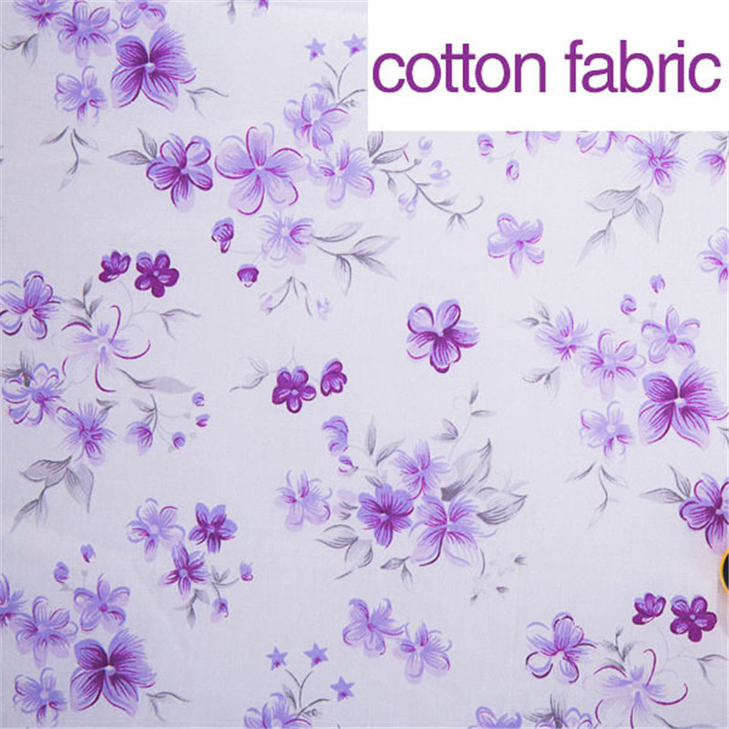 Purple floral printed 100 cotton fabric for sewing soft for Purple baby fabric