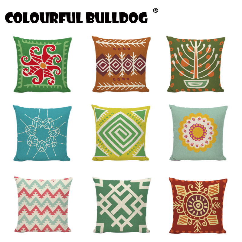 Geometric Colourful Cushion Cover Vintage Pattern Linen Cotton Home Office Furniture Throw Pillow Case Waist Support Pillowcases