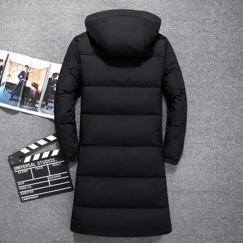 2018 nueva llegada invierno alta calidad pato blanco abajo chaquetas con capucha hombres invierno cálido con capucha Parkas hombres X-long abrigo de invierno