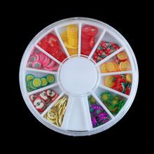 1wheel Mix Colors Fashion 12 different shapes 3D Polymer Clay Fruit slices Fimo Cane Wheel Nail Art DIY Designs 3d nail art fimo soft polymer clay fruit slices cartoon for nail manicure sticker cell phones diy designs wheel decoration czp35
