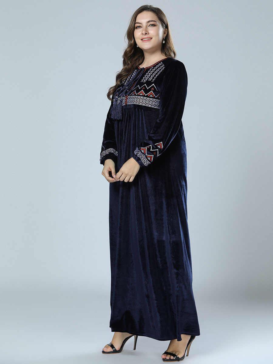 1cac3be744 Velvet Abaya Dubai Women Muslim Dress Kaftan Turkish Arab Islamic Plus Size  Clothes Long Sleeve Dark Blue Embroidery Tassel Robe