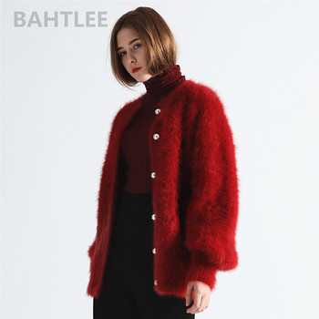 BAHTLEE winter women's angora cardigans sweater wool knitted mink cashmere  o-neck pearl button pocket thick keep warm