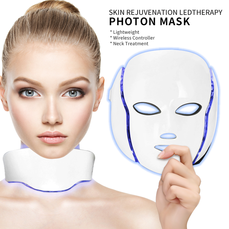 Professional 7 Colors Led Mask Facial Light Therapy Skin Rejuvenation Device Spa Acne Remover Anti-Wrinkle Beauty Treatment