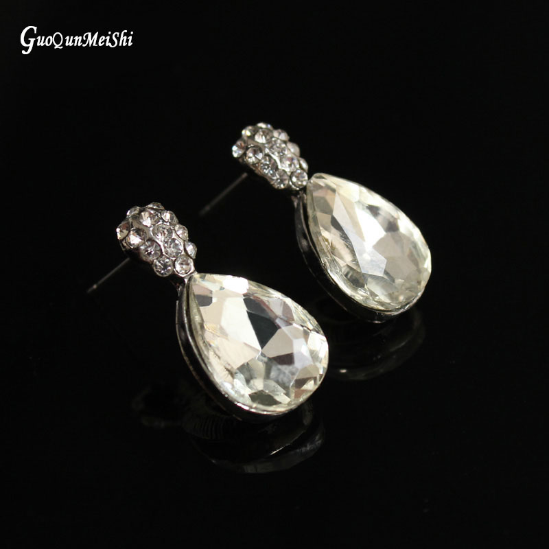 Hot Sale Drop Earrings Wholesale Glass Rhodium Plated Jewelry Market for Women Fashion Jewelry Accessories Free Shipping Gift