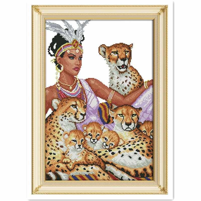 The Indian And The Leopards Chinese Counted Cross Stitch Patterns Kits joy sunday cross stitch Home Decor cross stitch patterns