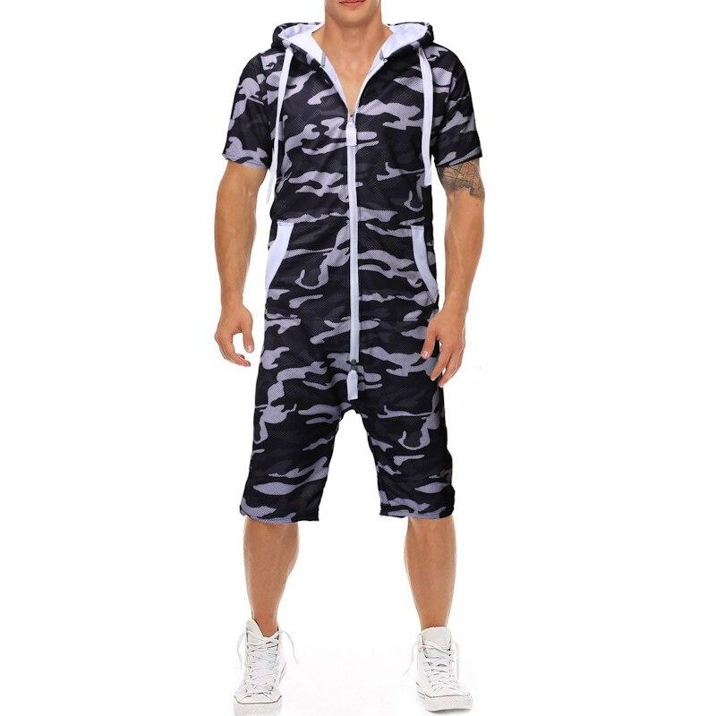 2019 Zomer Nieuwe Klassieke Camouflage Afdrukken Heren Casual Slim Een Stuk Pak Sport Korte Mouwen Shorts Jumpsuit Geschikt Voor Mannen En Vrouwen Van Alle Leeftijden In Alle Seizoenen