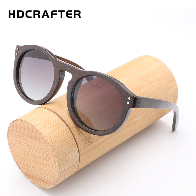 ff55a623e4 HDCRAFTER Retro Bamboo Wooden Sunglasses Round Frame Wood Polarized Lens  Hand Made and Women Sun Glasses