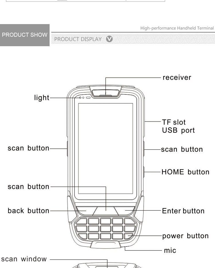 fio 1d 2d leitor de código de barras telefone móvel android