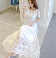 купить Free Shipping New Summer Fashion High Quality Plus Size S-XXL  Korean  Lace Flower Decorated Short  Sleeve Woman Long Dress дешево