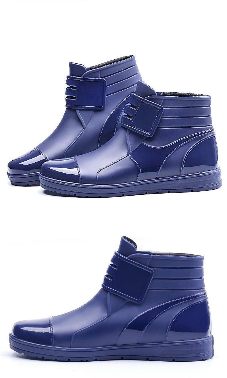 HTB1LQUcc56guuRkSmLyq6AulFXab - Dwayne 2018 Fashion PVC Waterproof RainBoots Waterproof Flat Shoes Men Black Rainboots Blue Rubber Ankle Boots Buckle Botas