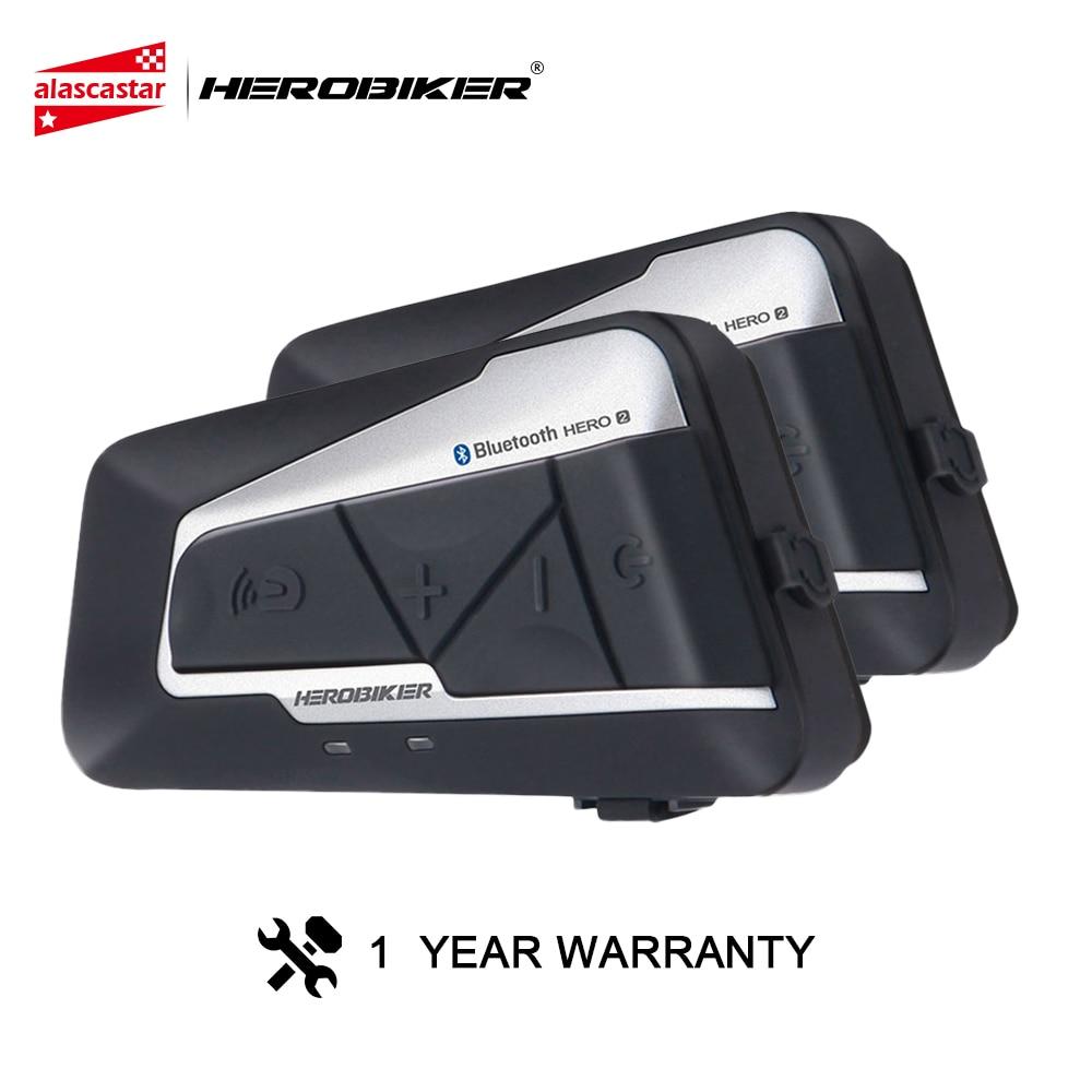 HEROBIKER Motorcycle Intercom Helmet Waterproof Wireless Bluetooth Intercom Motorcycle Headset Interphone For 2 Rides 1200M 2Pcs