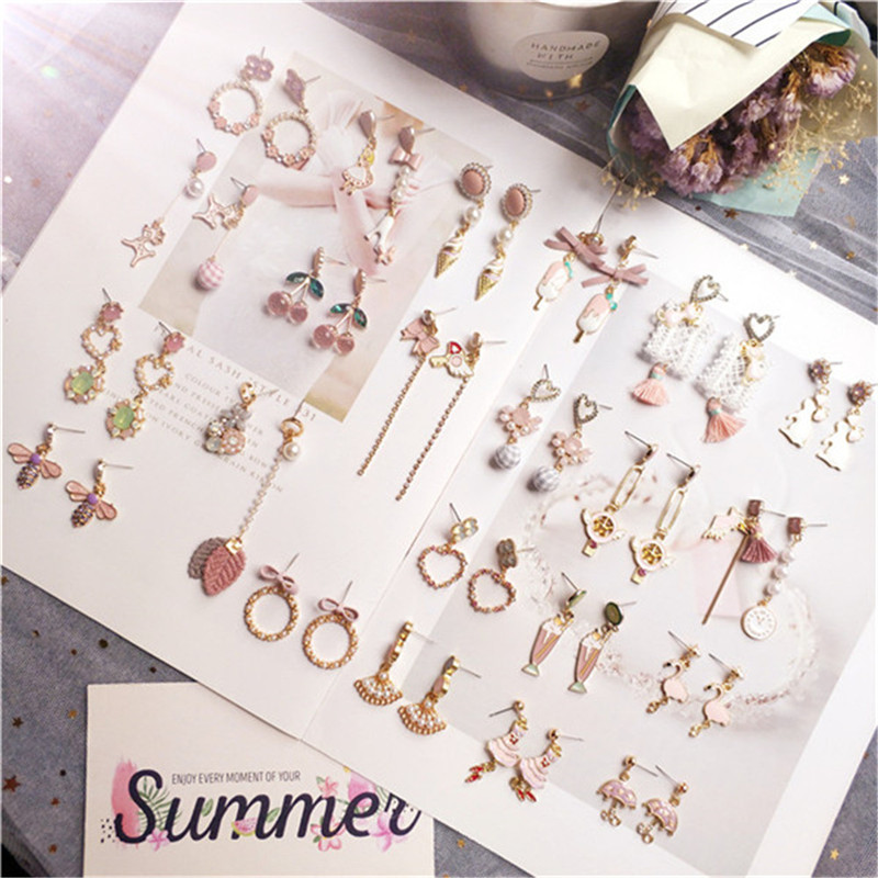 Korean Dangle Drop Earrings Cherry Kawaii Wholesale Women Handmade Cartoon Bird Heart Female Fashion Jewelry Accessories Gift-JQ
