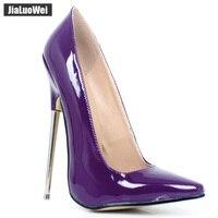 jialuowei 2018 Women Pumps 18CM Super High Heel shoes Fashion Sexy Fetish Pointed Toe Thin Metal Heels Woman Shoes single shoes