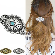 1-Wholesale round blue round hair accessories Fashion vintage carved flower oil clips spring clips hair pin jewelry кастрюля 1 6л frybest round blue round c18 b
