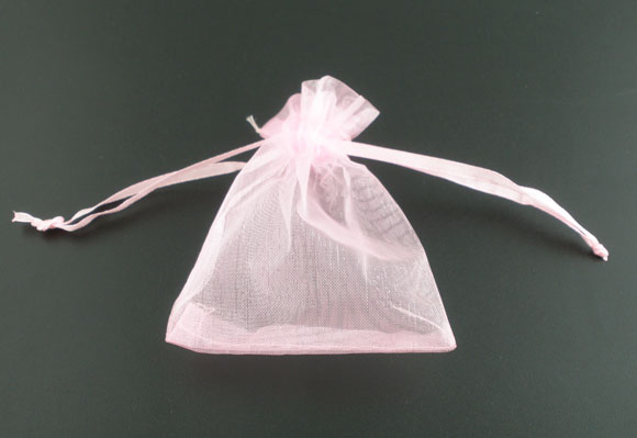 DoreenBeads Organza Organza Jewelry Bags Drawable Rectangle Pink 12cm X9cm(4 6/8