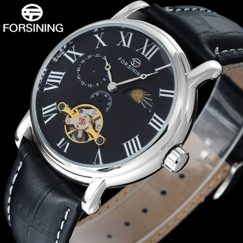 FORSINING Brand Men sport mechanical Watches casual men s automatic Toubilion watches male leather strap wristwatches