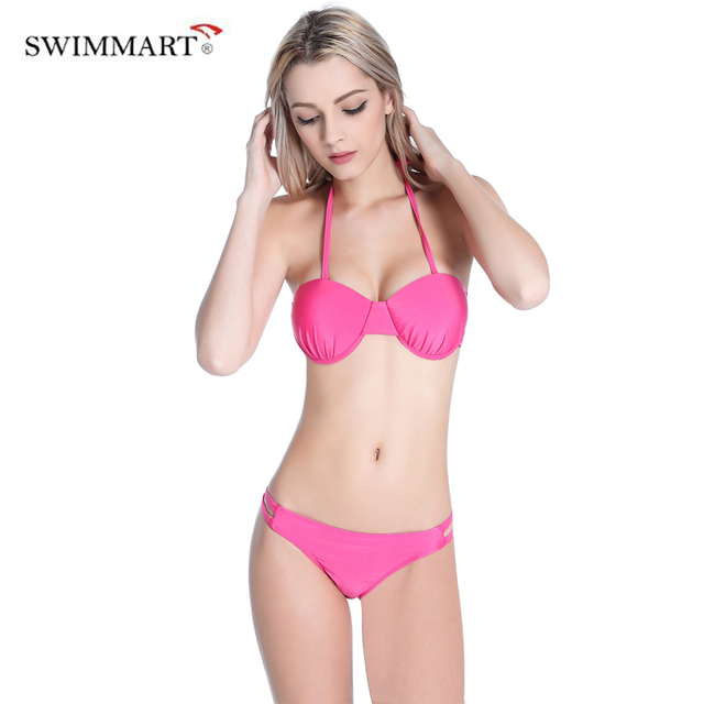 a2f3359935 Hot Swimsuit Bandage Bikini Set Pink Solid Bikini Sexy Women Swimwear  Swimsuit Beach Bathing Suits Swim Biquini maillot de bain