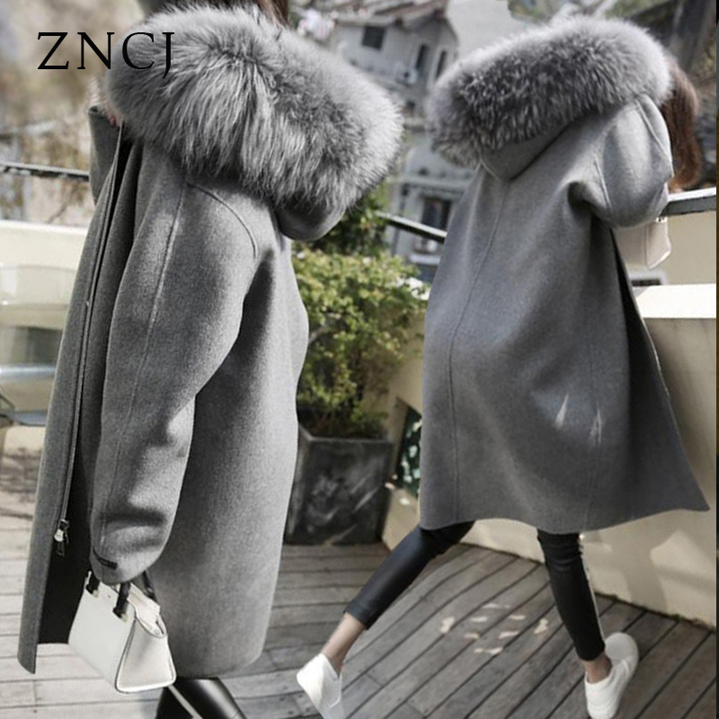 ZNCJ 2017 Korean winter new big fur collar in the long wool coat dress thick woolen coat Korean Students 2017 winter new clothes to overcome the coat of women in the long reed rabbit hair fur fur coat fox raccoon fur collar