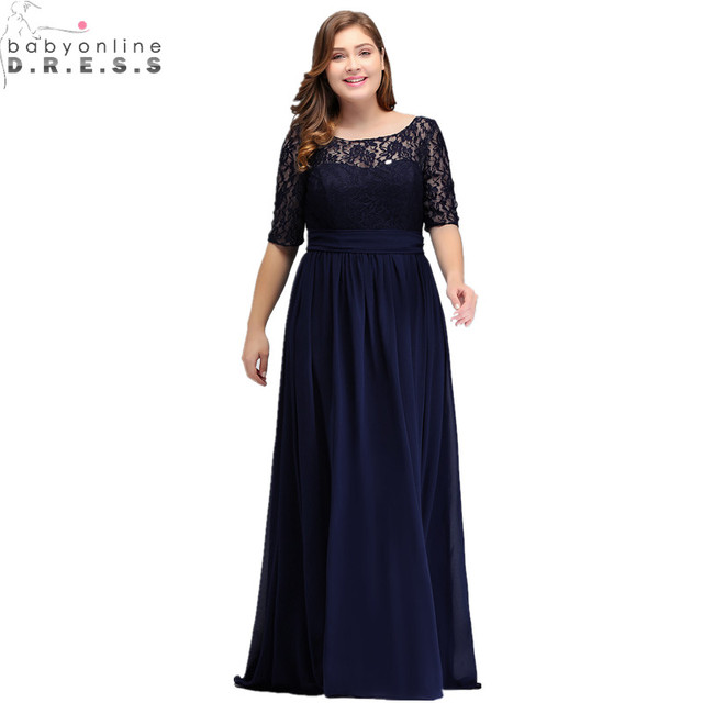 Elegant Half Sleeve Plus Size Lace Long Evening Dress  Sexy Royal Blue V Back Evening Gowns Robe de Soiree Longue