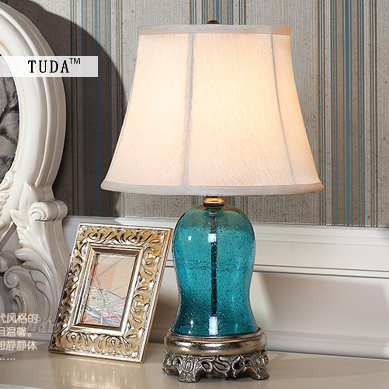 TUDA 33X56cm Free Shipping Mediterranean Sea Style Table Lamps For Living Room Bedroom Lamp blue transparent Glass Table Lamp tuda 2017 free shipping mediterranean sea coral table lamps living room lamp bedroom bedside lamp modern minimalist lamp