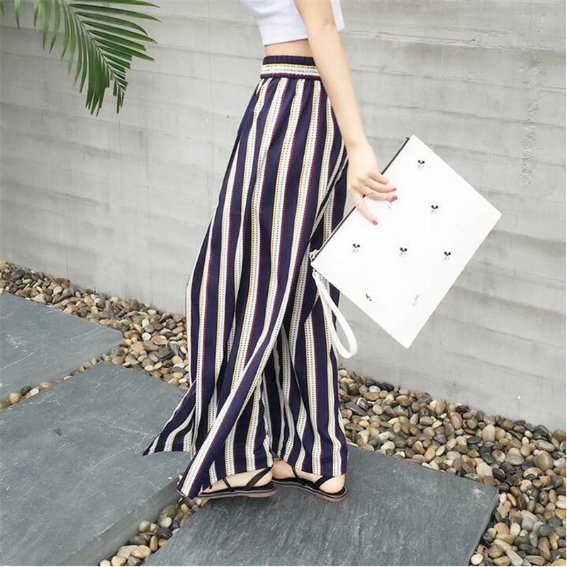 New Sexy Big Size Side Split   Wide     Leg     Pants   Summer Strip Print Women Boho Beach Long   Pants   Brand High Waist Casual A3247