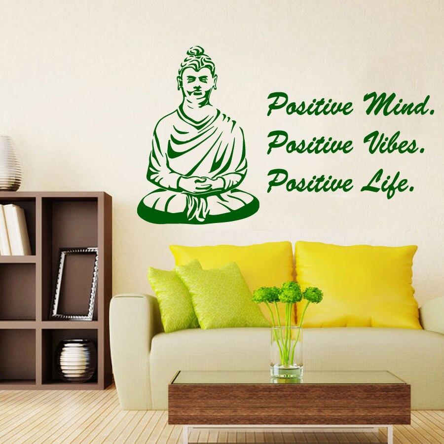 Wall Decals Quote Yoga Buddha Positive Mind Vinyl Sticker Murals Gym ...