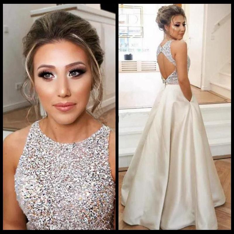 Backless Champagne Satin   Prom     Dresses   2019 for Women Real Pictures Floor Length Beads Long Vestido De Festa Party Gowns