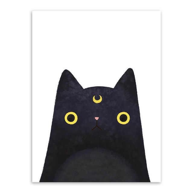 Современный акварельный милый кот и Аватар Холст с печатью постера картина украшение дома прохода стены искусства украшения на заказ