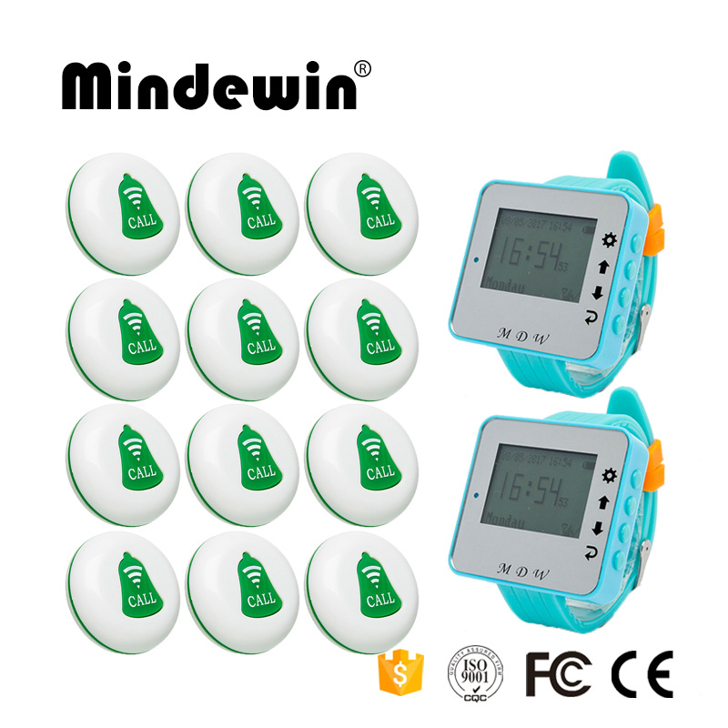 Mindewin Wireless calling Bell System for Restaurant Pager 2PCS Waiter Watch Pager M-W-1 + 12PCS Table Call Button M-K-1 wireless bell button for table service and pager display receiver showing call number for simple queue wireless call system