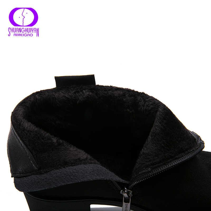 AIMEIGAO yeni gelenler süet deri yarım çizmeler kadınlar için kalın topuklu ayakkabılar sıcak kısa peluş botları ilkbahar sonbahar kadın ayakkabı